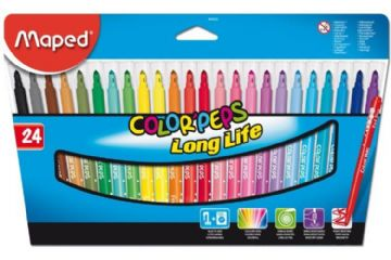 24 x MAPED FELT TIP PENS FIBRE TIP ART PENS in Wallet 24 Assorted Colours